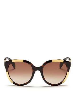 Main View - Click To Enlarge - Alexander McQueen - Inset metal block tortoiseshell acetate sunglasses