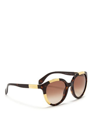 Figure View - Click To Enlarge - Alexander McQueen - Inset metal block tortoiseshell acetate sunglasses