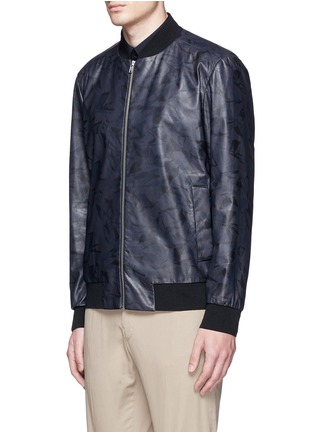 Front View - Click To Enlarge - Theory - 'Brant L' shatter print leather bomber jacket