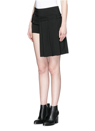 Detail View - Click To Enlarge - Dkny - Pinstripe inverted pleat skirt belt