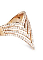 'Queen V Full Pavé' diamond 18k rose gold ring