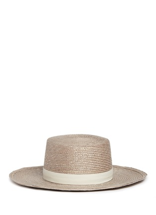 Janessa Leone - 'Calla Bolero' leather band Panama straw boat hat