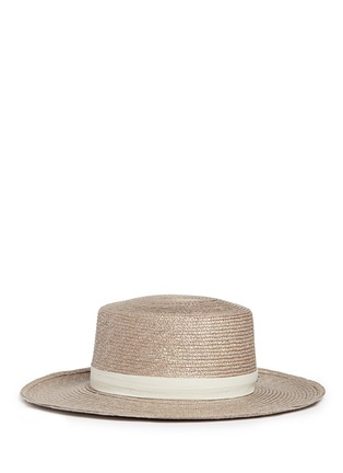 Figure View - Click To Enlarge - Janessa Leone - 'Calla Bolero' leather band Panama straw boat hat