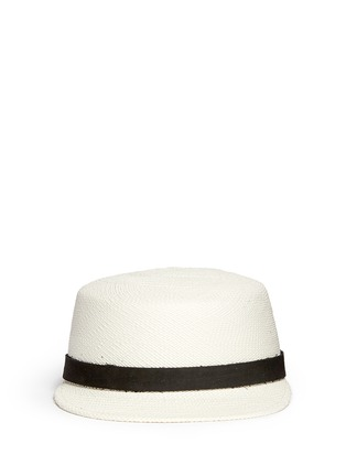 Main View - Click To Enlarge - Janessa Leone - 'Gadina' suede band Panama straw cadet cap