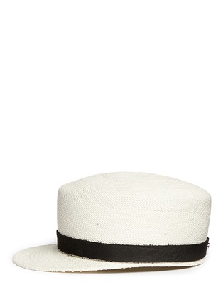 Figure View - Click To Enlarge - Janessa Leone - 'Gadina' suede band Panama straw cadet cap