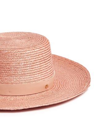 Janessa Leone-'Calla Bolero' leather band Panama straw boat hat