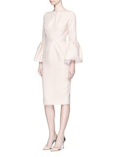 ROKSANDA'Margot' flannel crepe bell sleeve dress