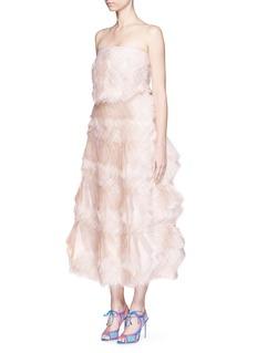 ROKSANDA'Grace' ruffle frayed organza strapless gown
