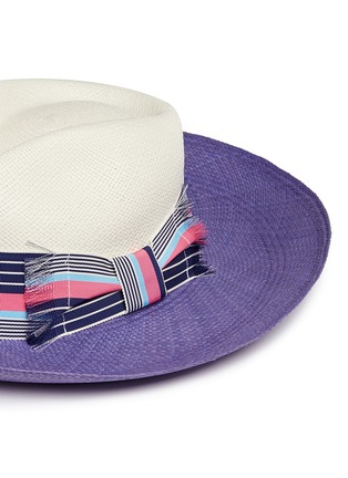 Detail View - Click To Enlarge - Sensi Studio - Frayed band colourblock straw panama hat