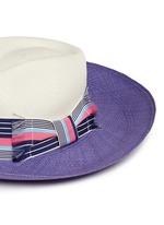 Frayed band colourblock straw panama hat