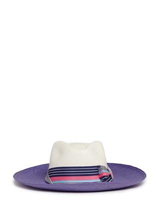 Main View - Click To Enlarge - Sensi Studio - Frayed band colourblock straw panama hat