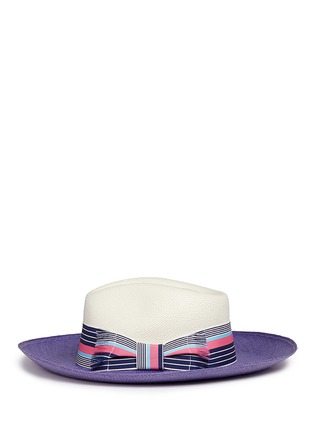 Figure View - Click To Enlarge - Sensi Studio - Frayed band colourblock straw panama hat
