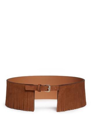 Maison Boinet-Fringe suede corset belt