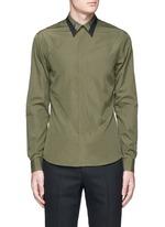 Contrast collar bone poplin shirt