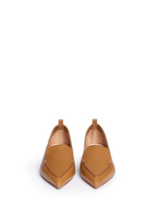 Front View - Click To Enlarge - Nicholas Kirkwood - 'Beya Bottalato' metal heel leather skimmer loafers