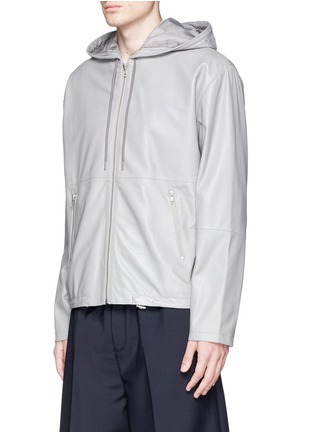 Front View - Click To Enlarge - McQ Alexander McQueen - Leather zip hoodie