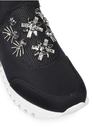 Detail View - Click To Enlarge - Tory Burch - 'Rosas' embellished crystal bead neoprene sneakers