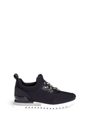 Main View - Click To Enlarge - Tory Burch - 'Rosas' embellished crystal bead neoprene sneakers