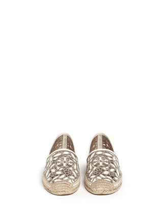 Figure View - Click To Enlarge - Tory Burch - 'Rhea' embroidered leather espadrille slip-ons