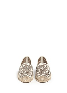 TORY BURCH 'Rhea' embroidered leather espadrille slip-ons