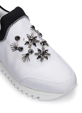 Detail View - Click To Enlarge - Tory Burch - 'Rosas' embellished combo slip-on sneakers