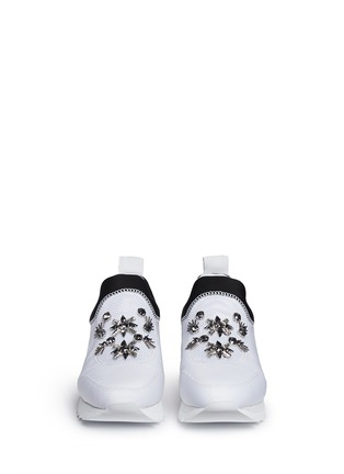 Front View - Click To Enlarge - Tory Burch - 'Rosas' embellished combo slip-on sneakers