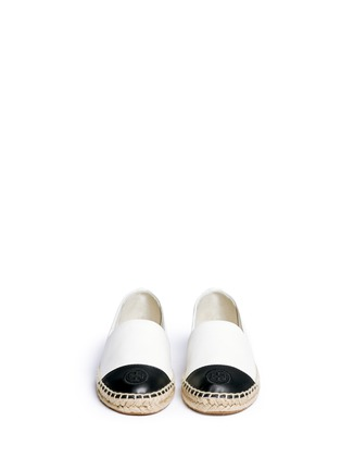 Front View - Click To Enlarge - Tory Burch - Colourblock leather espadrille slip-ons