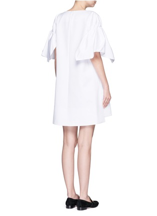 Back View - Click To Enlarge - VICTORIA, VICTORIA BECKHAM - Ruched sleeve cotton twill dress