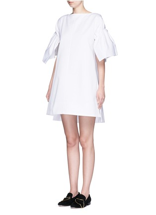Front View - Click To Enlarge - VICTORIA, VICTORIA BECKHAM - Ruched sleeve cotton twill dress