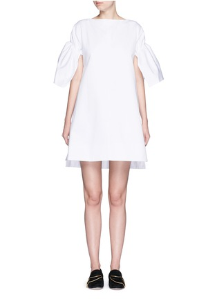 Main View - Click To Enlarge - VICTORIA, VICTORIA BECKHAM - Ruched sleeve cotton twill dress