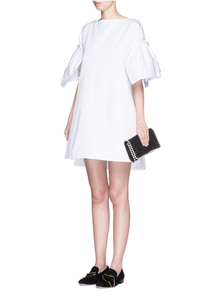 Figure View - Click To Enlarge - VICTORIA, VICTORIA BECKHAM - Ruched sleeve cotton twill dress
