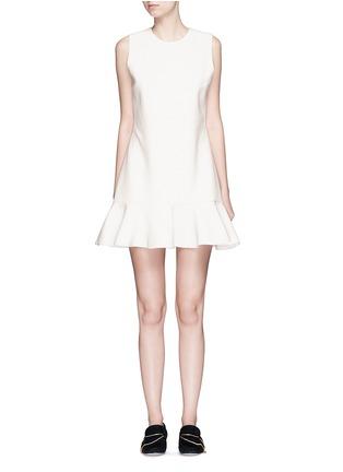 Main View - Click To Enlarge - VICTORIA, VICTORIA BECKHAM - Flounce hem wool crepe shift dress