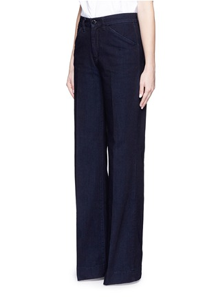Front View - Click To Enlarge - VICTORIA, VICTORIA BECKHAM - Wide leg broken twill jeans