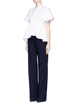 Figure View - Click To Enlarge - VICTORIA, VICTORIA BECKHAM - Wide leg broken twill jeans