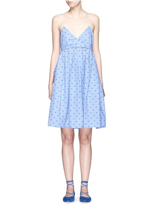 Main View - Click To Enlarge - VICTORIA, VICTORIA BECKHAM - Bow fil coupé chambray camisole dress