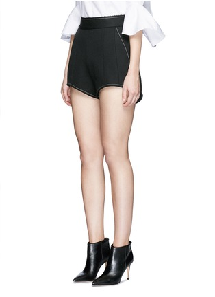 Front View - Click To Enlarge - Ellery - 'Groupie' bonded rib knit wool shorts