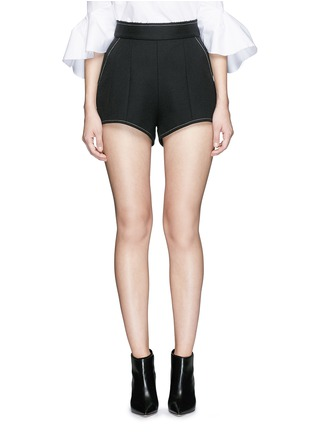 Main View - Click To Enlarge - Ellery - 'Groupie' bonded rib knit wool shorts
