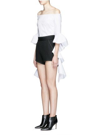 Figure View - Click To Enlarge - Ellery - 'Groupie' bonded rib knit wool shorts