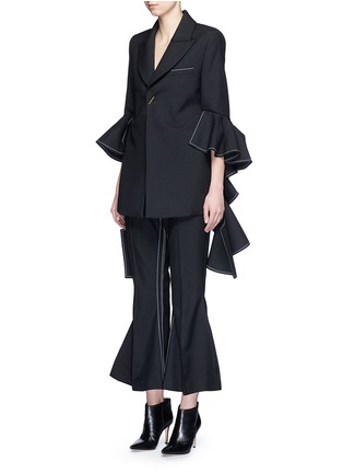 Figure View - Click To Enlarge - Ellery - 'Majesty' ruffle sleeve Oxford weave jacket