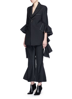ELLERY 'Majesty' ruffle sleeve Oxford weave jacket