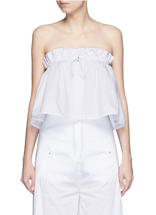 Main View - Click To Enlarge - Ellery - 'Hot Wax' pinstripe cropped bandeau top