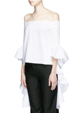 Front View - Click To Enlarge - Ellery - 'Delores' split ruffle sleeve off-shoulder top