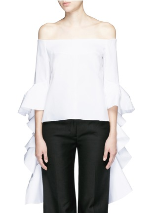 Main View - Click To Enlarge - Ellery - 'Delores' split ruffle sleeve off-shoulder top
