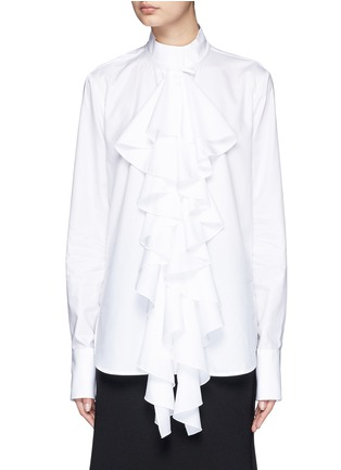 Main View - Click To Enlarge - Ellery - 'Expelled' ruffle front cotton shirt