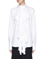 'Expelled' ruffle front cotton shirt