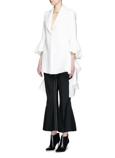 ELLERY 'Majesty' ruffle sleeve textured crepe jacket