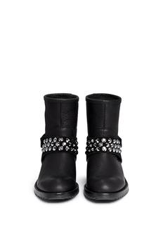 PEDRO GARCÍA'Kian' Swarovski crystal stud leather ankle boots