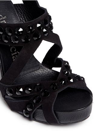 Detail View - Click To Enlarge - Pedro García - 'Pietra' Swarovski crystal strap suede sandals