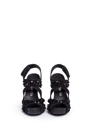 Figure View - Click To Enlarge - Pedro García - 'Pietra' Swarovski crystal strap suede sandals