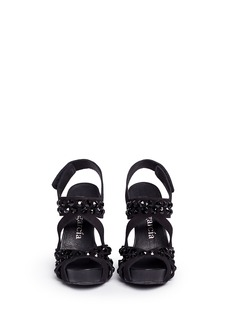 PEDRO GARCÍA'Pietra' Swarovski crystal strap suede sandals